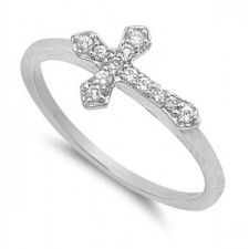 Sterling Silver 9mm Cross CZ Ring Ring nva194