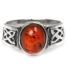 Sterling Silver Amber Oval Classic Ring nv260