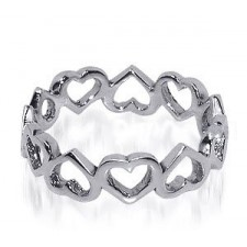 Sterling Silver 5mm Cute Tiny Hollow Hearts Ring nva83