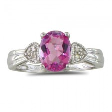 Sterling Silver 3/4ct Pink Topaz and Diamond Ring nva220
