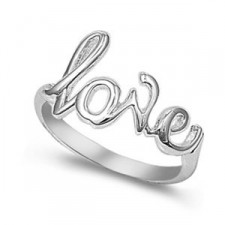 Sterling Silver Love Script Ring nva108