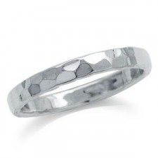 Sterling Silver 3MM Hammered Ring nva107