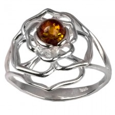 Sterling Silver Amber Celtic Flower Ring nv259