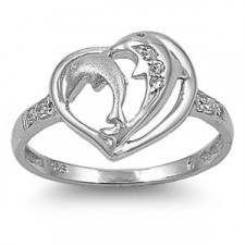Sterling Silver Dolphin Heart Ring nv293