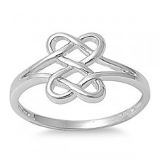 Sterling Silver Hearts Infinity Fusion Ring nva92