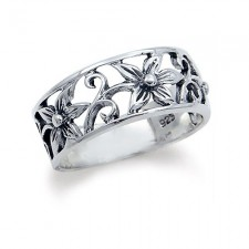 Sterling Silver FLOWER FILIGREE Ring nva146