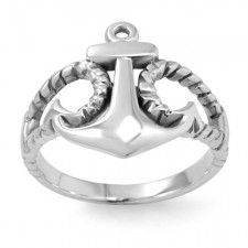 Sterling Silver Anchor Ring nva178