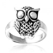 Sterling Silver Oxydized Detail Owl Ring nv307