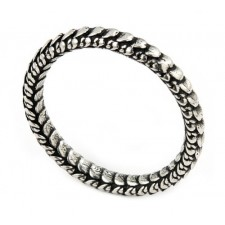 Sterling Silver Antiqued Snake Skin Stackable Ring nv346