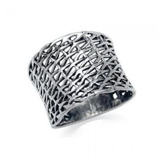 Sterling Silver Large Wide Weave Ring nva131