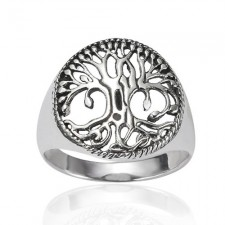 Sterling Silver Celtic Tree of Life Round Ring nva136