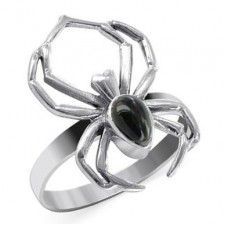 Sterling Silver Black Onyx Widow Spider Ring nv338