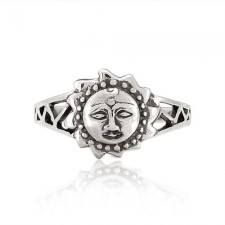 Sterling Silver Celtic Sun Face Vintage Style Ring nv339