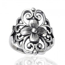Sterling Silver Floral Filigree Flower Ring nva102