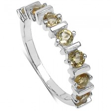 Sterling Silver 0.84 Carat Citrine Round 7-Stone Ring nv319