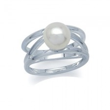 Sterling Silver 8MM Natural White Pearl Ring nva186