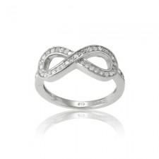 Sterling Silver CZ Infinity Figure 8 Ring nva213
