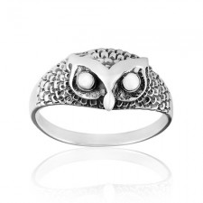 Sterling Silver Detailed Owl Unique Ring nv266