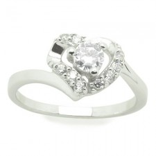 Sterling Silver CZ White Heart Shaped Promise Ring nv279