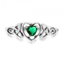 Sterling Silver 1.5 Carat Emerald Celtic Trinity Knot Heart Ring nva147