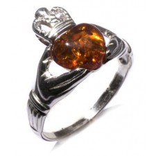 Sterling Silver Honey Amber Irish Claddagh Ring nva195