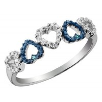 Sterling Silver White and Blue Diamond Accent Heart Ring nv252