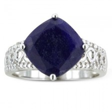 Sterling Silver 7 Carats Sapphire and Diamond Ring nv263