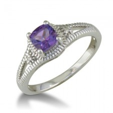 Sterling Silver Amethyst and Diamond Ring nv280