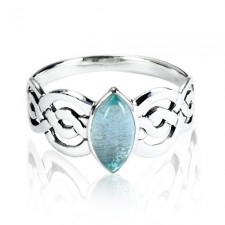 Sterling Silver Natural Blue Topaz Celtic Double Infinity Knot Ring nv308