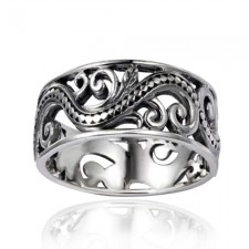 Sterling Silver 9mm Filigree Leaves Swirl Vine Wreath Ring nva160