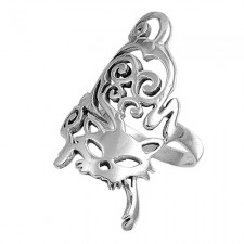 Sterling Silver Cat Ring nv247