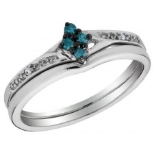 Sterling Silver Blue Diamond Wedding Band Set Ring nva449
