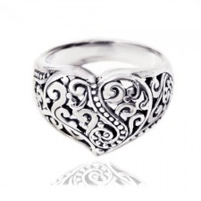 Sterling Silver Filigree Heart,Unique and Charming Ring nva86