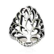 Sterling Silver Celtic Tree of Life Band Ring nva96
