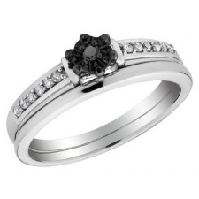 Sterling Silver Black Diamond Wedding Band Set Ring nva450