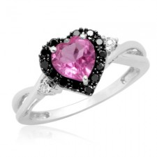 White Gold 10k Heart Shaped Pink Sapphire with Black White Diamond  Ring nva451