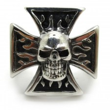 Skull Burning Ring Cross Ring nva506