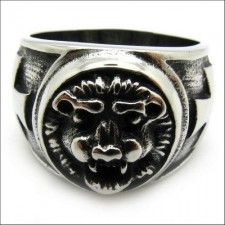 Stainless Steel Steel Lion Cross Ring nva528