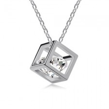 Swarovski Elements Cube 18k White Gold Plated nva557